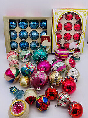 $ CDN72.61 • Buy Vintage Christmas Glass Ornaments Lot 45 Indent Stencil Shiny Brite Ornaments