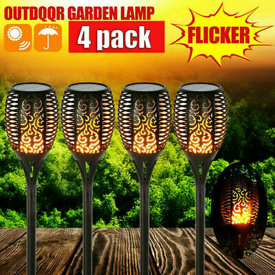 2Pack 96LED True Flame Solar Torch Light Warm White LED Flickering Garden Lamp • 13.49£
