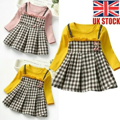 Toddler Baby Kids Girls Ruched Plaid Patchwork Strap Cute Princess Dress Clothes • 7.99£