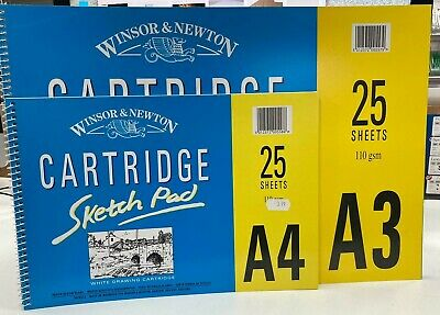 Winsor & Newton Cartridge Sketch Pad 25 Sheets 110gsm A4/A3 Drawing Paper • 3.50£