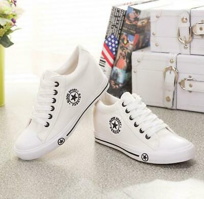 Women's Girls Lace Up Hidden Wedge Canvas Trainers Plimsolls Pumps Sports Shoes • 14.99£