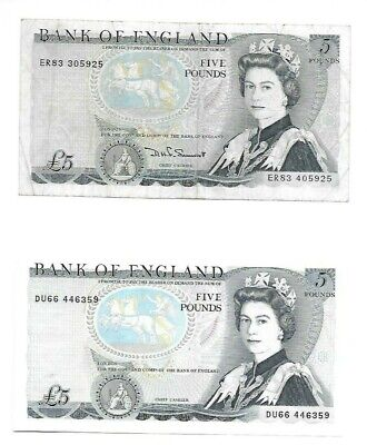 Pair Of Misprinted Five Pound Notes (missing Signature / Serial # Mismatch) • 200£
