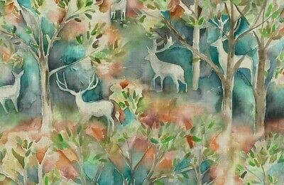 Voyage Maison Seneca Forest Autumn | Linen Watercolour Stag Fabric | Per Meter • 26.95£