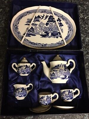 Minature Tea Set, The Regal Bone China In Box Blue And White Chinese • 9.99£
