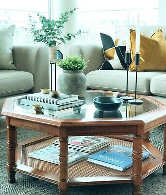 Vintage Danish 1950s, Octagonal Wood And Cane Coffee Table  • 30£
