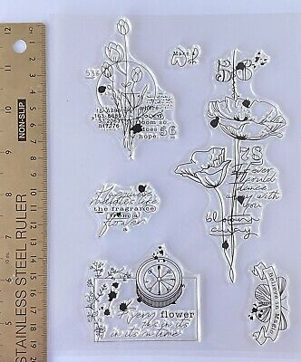 £5.99 • Buy Clear Rubber Stamps Flower Butterfly Leaf Birthday Script Wish Magic Background
