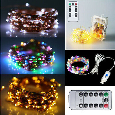 LED USB Remote Battery Powered Micro Wire Copper Fairy String Lights Xmas Decor • 6.03£