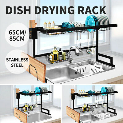 AU79.99 • Buy Dish Drying Rack Over Sink Stainless Steel Dish Drainer Organizer 2 Tier 65/85CM