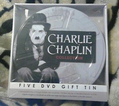 Charlie Chaplin Collection Five DVD Tin     New + Sealed • 7£