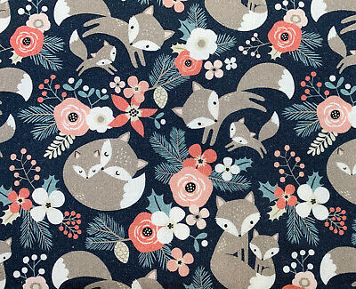 £6.99 • Buy 100% Cotton Fabric Foxes & Floral Christmas Print Craft Fabric Material Metre