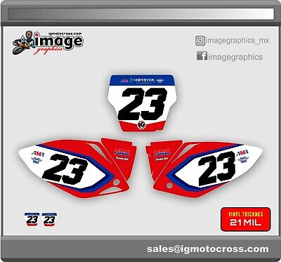 $59 • Buy HONDA CRF 450r 2005-2007  NUMBER PLATES GRAPHICS Backgrounds Set FACTORY LOOK