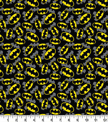 Fabric Batman Logo 100% Cotton 112cm (44 ) Wide FQ 1/2m Or 1m Black • 4.25£
