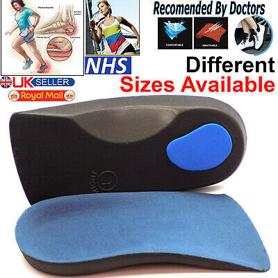 3/4 Orthotic Arch Support Insoles For Plantar Fasciitis Fallen Arches Flat Feet • 3.49£