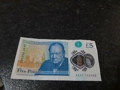 £5 Five Pound Note - With AK 47 Serial Number Circulated. • 10£