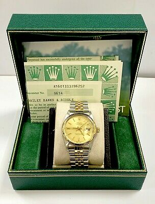 $ CDN7813.88 • Buy Rolex Datejust 16013 Champagne Dial 18K Yellow Gold Fluted Bezel Box Papers