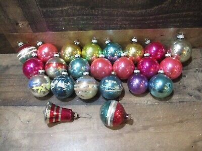 $ CDN1.64 • Buy Vintage Lot Of 23 Large Christmas Tree Ornaments Stripe Bell More Shiny Brite