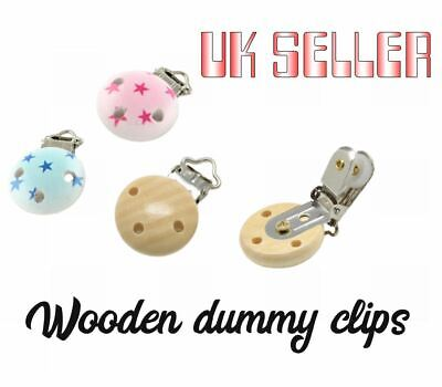 Wood Baby Pacifier  Wooden Holder Clips, With Iron Clips Natural Pink Blue • 1.79£