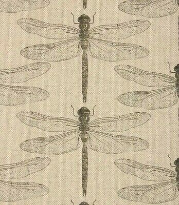 Botanical Dragonfly Linen Natural Insects Nature Voyage Style Fabric Curtains • 19.95£