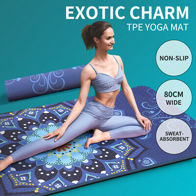 AU59.99 • Buy TPE Yoga Mat Gym Exercise Extra Large Dual Layer Non Slip Pad Mat Fitness Pilate