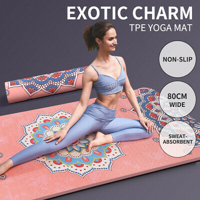 AU59.99 • Buy TPE Yoga Mat Dual Layer Non Slip Pad Eco Friendly Exercise Fitness Pilate Gym