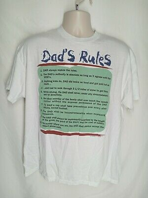 $ CDN21.04 • Buy Vintage Dad's Rules 10 Rules White Men's T-shirt Size Large Funny