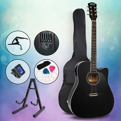 "AU114.90 • Buy Alpha 41"" Inch Electric Acoustic Guitar Wooden Classical Full Size EQ Capo Black"