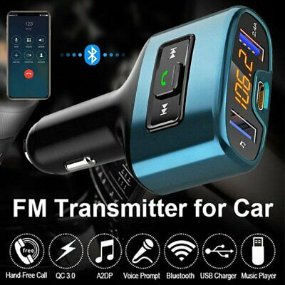 Wireless Bluetooth FM Transmitter Car Kit Radio Adapter Type-C USB Fast Charger • 16.79£