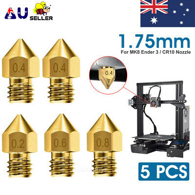 AU10.45 • Buy 5/10pcs For Ender 3 PRO CR10 3D Printer 1.75mm 0.4mm MK8 Extruder Nozzles NEW