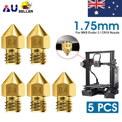AU6.95 • Buy 5/10pcs For Ender 3 PRO CR10 3D Printer 1.75mm 0.4mm MK8 Extruder Nozzles NEW