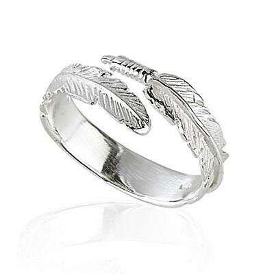 Solid 925 Sterling Silver Angel Wing Feather Adjustable Ring Size L-R Gift Boxed • 12.99£