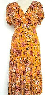 Joe Browns Dress Womens Mustard Floral Crossover Bodice Vtg 40s 50s Tea Style 16 • 17.99£