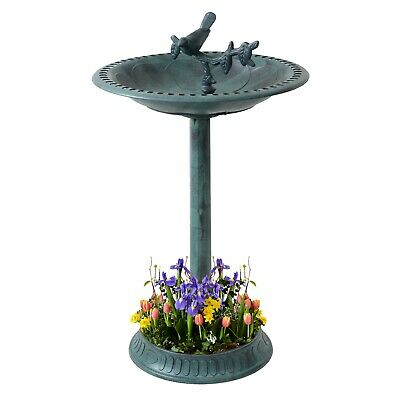 Garden Bird Bath Bowl With Sparrow Statue Traditional Pedestal Ornamental Feeder • 17.99£
