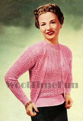 Knitting Pattern Ladies Vintage 1940s Cable Patterened Twin Set/Jumper/Cardigan • 1.70£