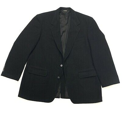 $48.16 • Buy Bill Blass Mens Formal Black Pea Coat Large Camel Hair Button Up Lined Made USA