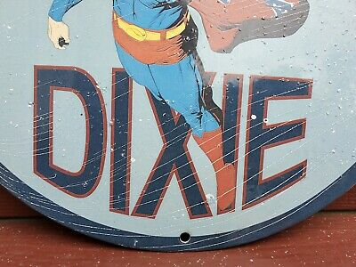 $ CDN400.97 • Buy Vintage Dixie Gasoline / Motor Oil Porcelain Metal Gas Pump Superman Rare Sign!!