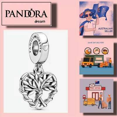 AU37.99 • Buy Mother's Day Gift Pandora Charms Heart Family Tree Dangle Charm Item# 799149C00