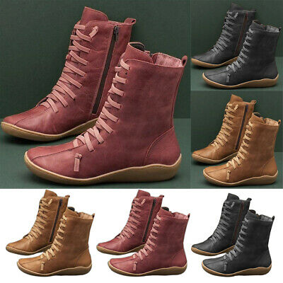 Women Leather Flat Ankle Boots Ladies Arch Support Lace Up Casual Shoes Size 4-7 • 13.49£