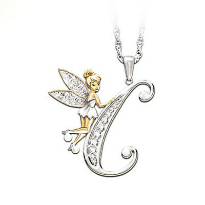Stunning Tinkerbell Fairy Alphabet Letter  C   Pendant Necklace With Organza Bag • 2.99£