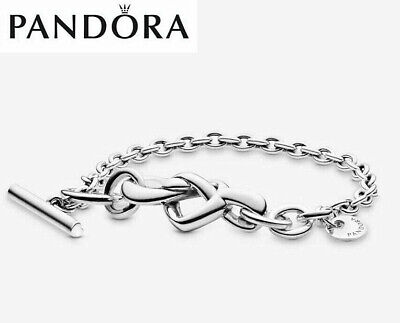 Pandora Silver Knotted Heart-shaped T-shaped Bracelet Gift Box • 13.99£