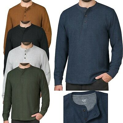 Mens Long Sleeve T-Shirt Thermal Henley Grandad Warm Waffle Knit Winter Cuff Tee • 6.99£
