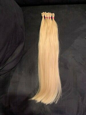 100% RUSSIAN Human Hair Extensions Extra Thick Ends 16´´ Bleach Blonde 25str • 28.09£