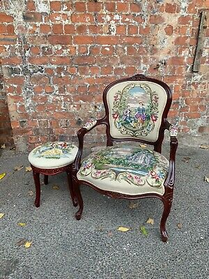 Beautifully Carved Ornate Tapestry Salon Elbow Chair / Armchair With Stool • 169.99£
