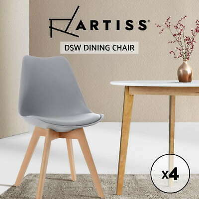 AU144.90 • Buy Artiss 4x Retro Dining Chairs Padded Wooden Legs PU Leather Seat Cafe Chair Grey