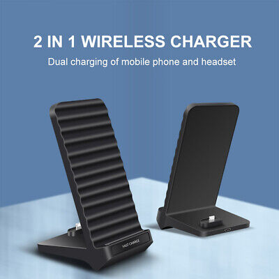 AU16.99 • Buy AU 2in1 15W Qi Fast Wireless Charger Dock Stand For Airpods IPhone 12 Pro 11 XS
