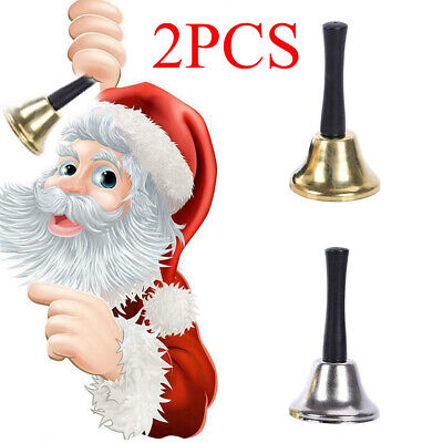 2PCS Christmas School Pet Call Ringtone Jingle Hand Bell With Wooden Handle Toy • 5.51£