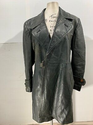 Vintage 40's Ww2 German Officer Horsehide Leather Coat Jacket Size S • 49£