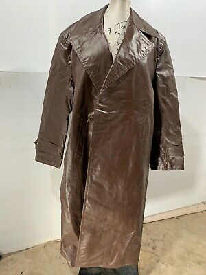 Rare Vintage 40's Ww2 German Officer Faux Leather Rubber Coat Jacket Size M/52 • 49£