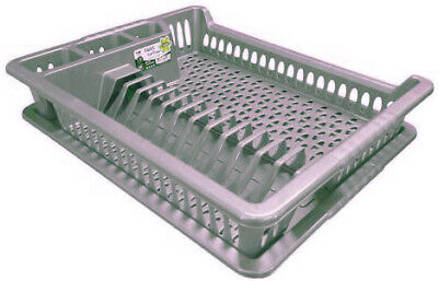 Large Gray Plastic Dish Drainer Plate And Cutlery Rack With Drip Tray UK • 9.75£