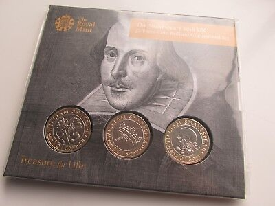 2016 UK £2 Three Coin Set. Shakespeare Set. Mint/sealed Pack • 39.99£