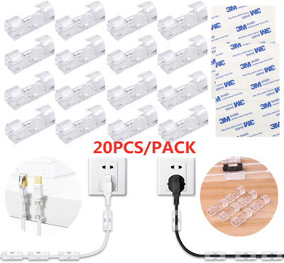 20Pcs Cable Clips With Strong Self-Adhesiv Cable Management TV PC Wire Holder • 3.50£